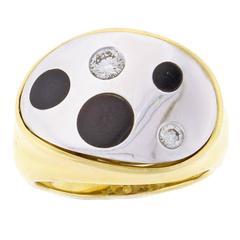 Michael Bondanza Onyx Diamond Gold Platinum Polka Dot Ring