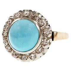 Persian Turquoise Diamond Gold Cocktail Ring