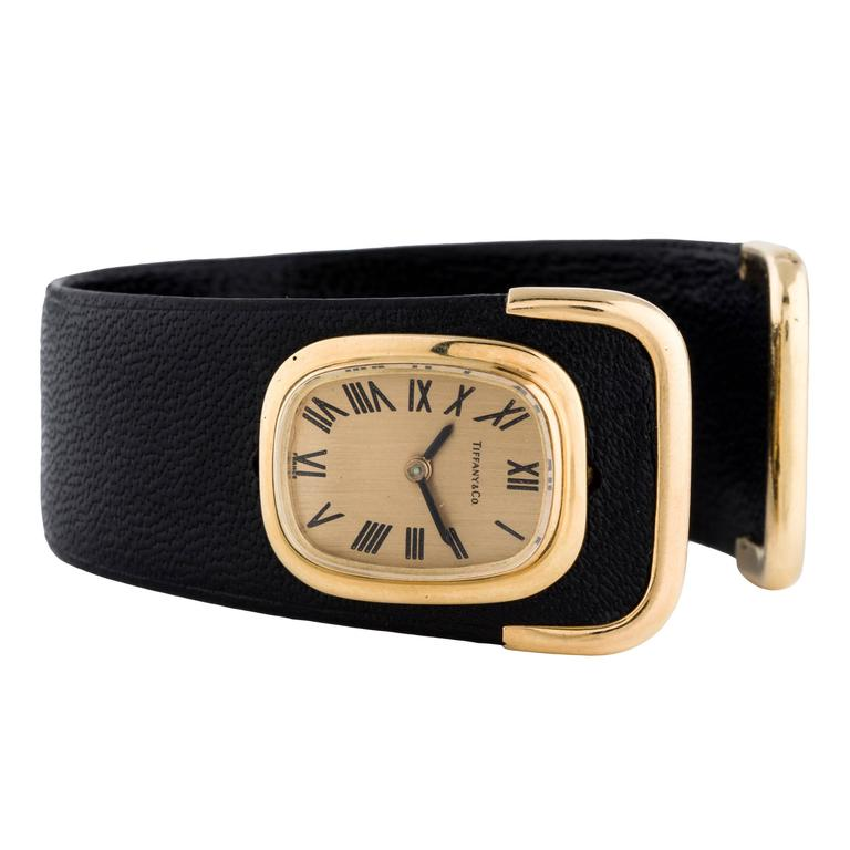 Tiffany & Co. Ladies Yellow Gold Leather Cuff Wristwatch 1