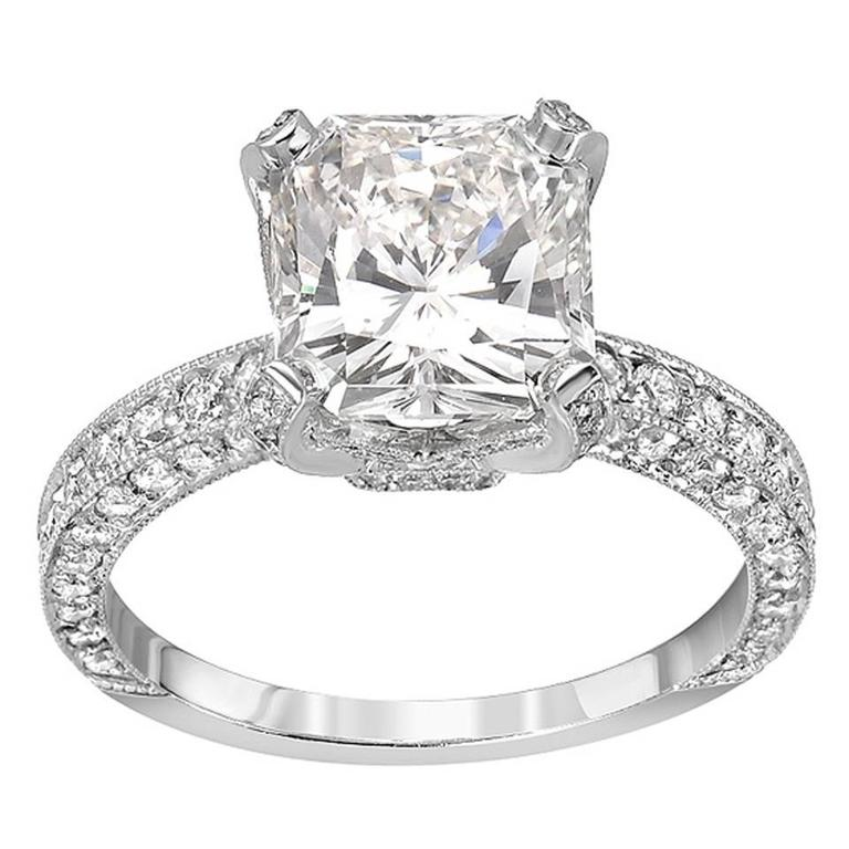 3 01 Carat Princess Cut Diamond Pave Gold Engagement Ring For Sale at 1stdibs