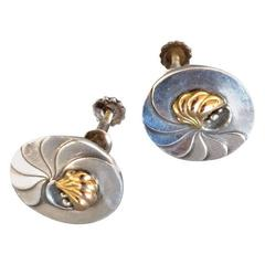 Georg Jensen Nautilus Earrings with Gold Center No. 96