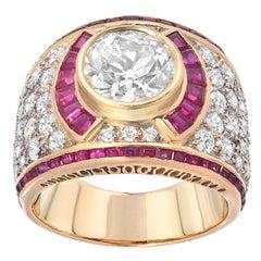 Estate 2.50 Carat European Cut Diamond Ruby Gold Ring