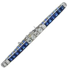 Tiffany & Co. Art Deco Sapphire Diamond Platinum Line Bracelet