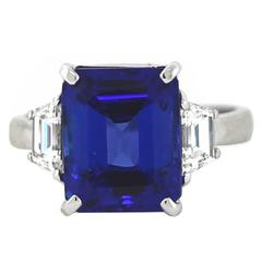 Emerald Cut Tanzanite Trapezoid Diamond Platinum Ring