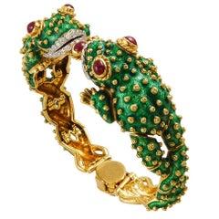 David Webb Diamond Ruby Enamel Frog Bracelet