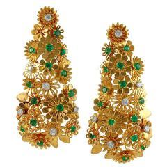 Cartier Diamond Emerald Gold Earclips