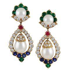 1960s Van Cleef & Arpels Pearl Multi Gem Gold Earrings