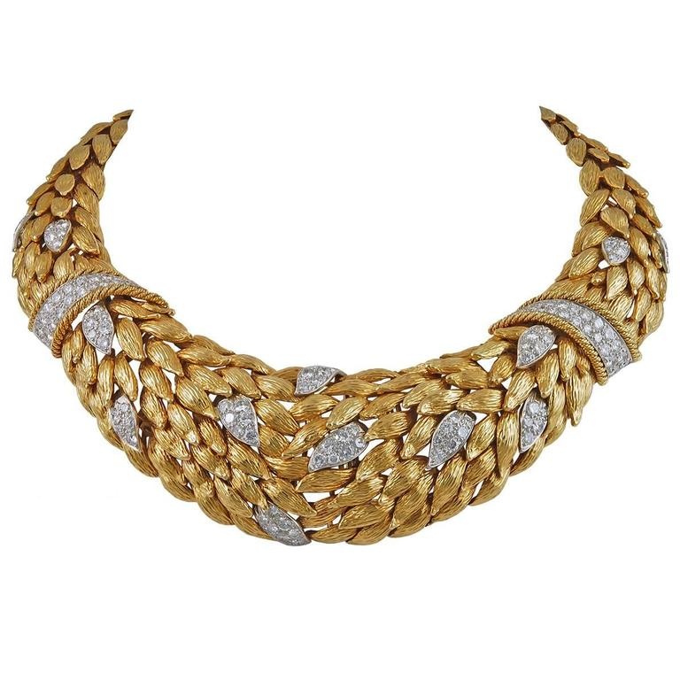 David Webb Diamond Gold Leaf Necklace