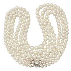 Three Strand Pearl Necklace with 2.11Ct Diamond, 18k Yellow Gold Clasp - Antique
