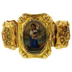 French Victorian Enamel Gold Bracelet