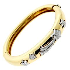 Chanel Comete Diamond Gold Bangle Bracelet