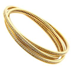 Cartier Trinity Diamond Gold Bangle Bracelet