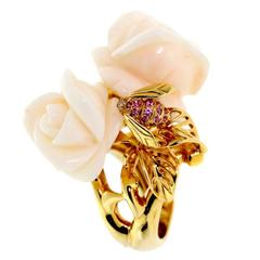 Dior Rose Pre Catelan Coral Gold Ring