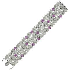 Carrera y Carrera Diamond Pink Sapphire Floral Link White Gold Bracelet