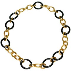 Jona High-Tech Ceramic and 18 Karat Brushed Rose Gold Chain Link Necklace