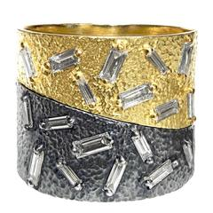 White Diamond Baguette Oxidized Silver Yellow Gold Curve Stacking Band Ice Rings