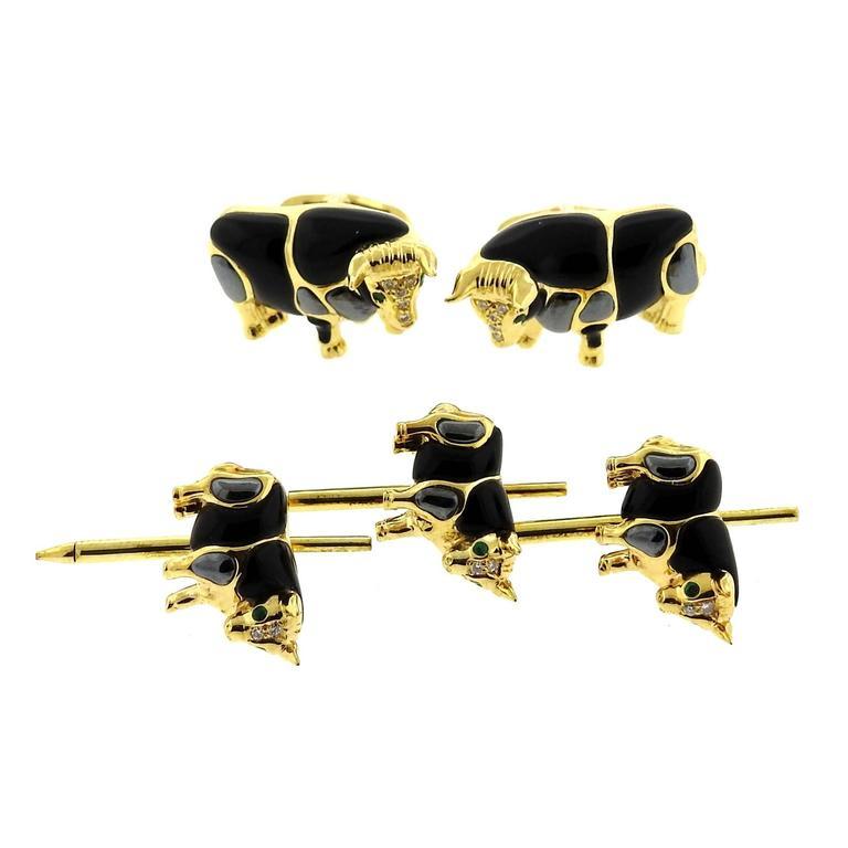 Asch Grossbardt Gold Onyx Hematite Emerald Diamond Bull Cufflinks Stud Set