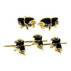 Asch Grossbardt Gold Onyx Hematite Emerald Diamond Bull Cufflinks Stud Set