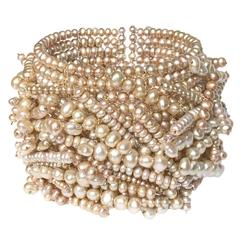 Champagne Pearl Flexible Chaos Cuff Bracelet