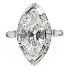 1.59 Carat GIA Cert Marquise Cut Diamond and Platinum Ring