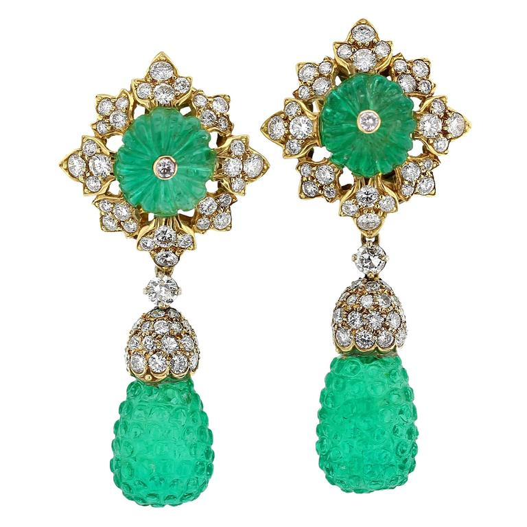 Carved Emerald Diamond Gold Drop Earrings For Sale