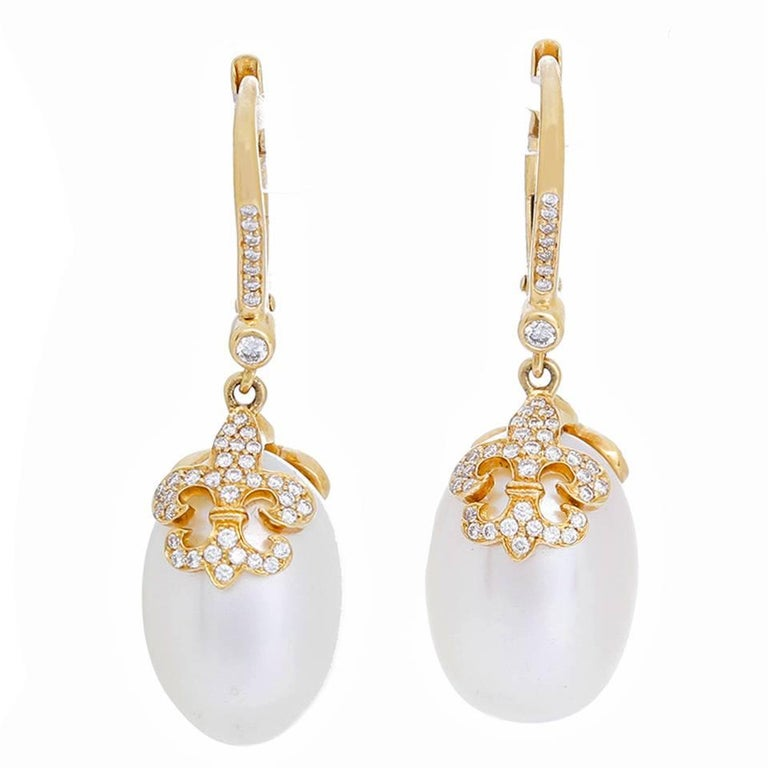Rhonda Faber Green Baroque Freshwater Cultured Pearl and Diamond Earrings For Sale