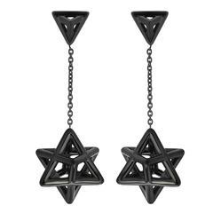 Merkaba Black Platinum Drop Earrings