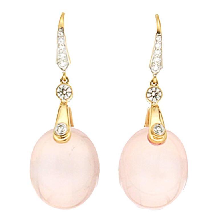 Valentin Magro Rose Quartz Earrings with Diamonds Lever Back