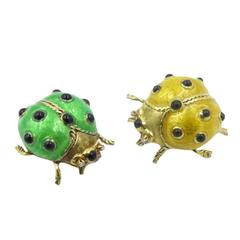 A Pair of Enamel and Gold Lady Bug Brooches.
