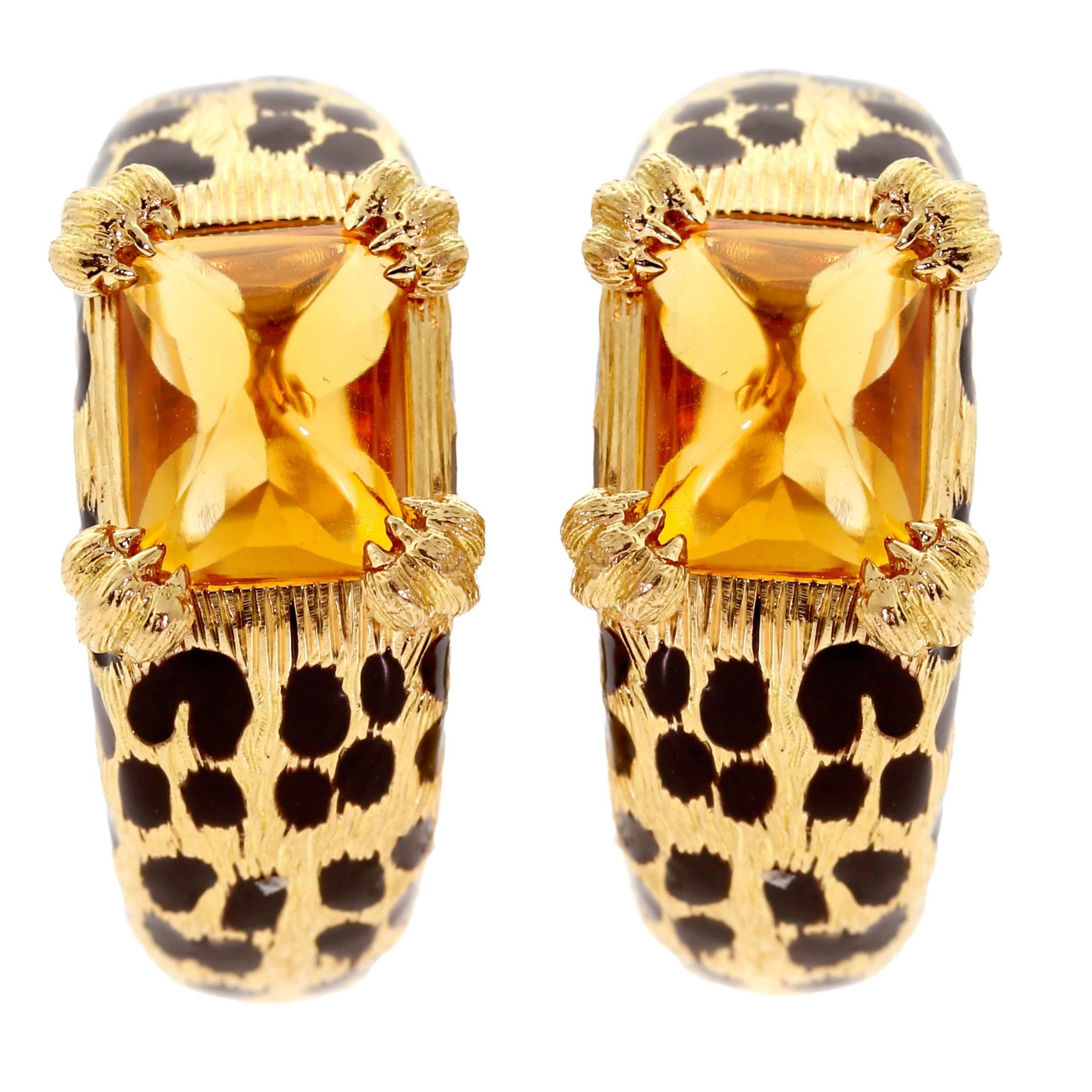 Dior Leopard Citrine Gold Earrings