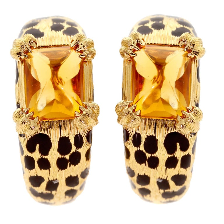 Dior Leopard Citrine Gold Earrings For Sale