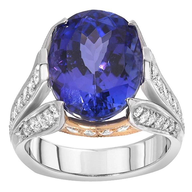 Tanzanite Diamond Platinum Gold Cocktail Ring