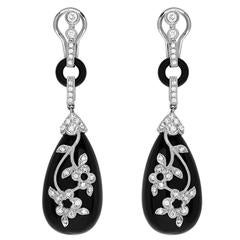 Estate Black Onyx White Diamond Pave Drop Earrings in Gold