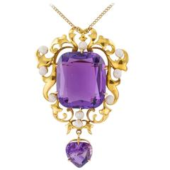 Art Nouveau Amethyst and Pearl Brooch Pendant