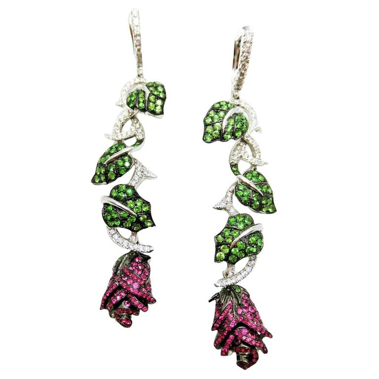 Ruby Tsavorite Diamond White Gold Rose and Leaf Earrings  1
