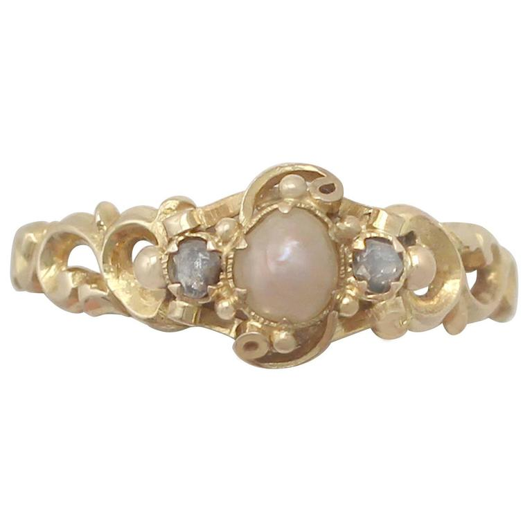 Antique Victorian Pearl and 0.04 ct Diamond, 18k Yellow Gold Dress Ring For Sale