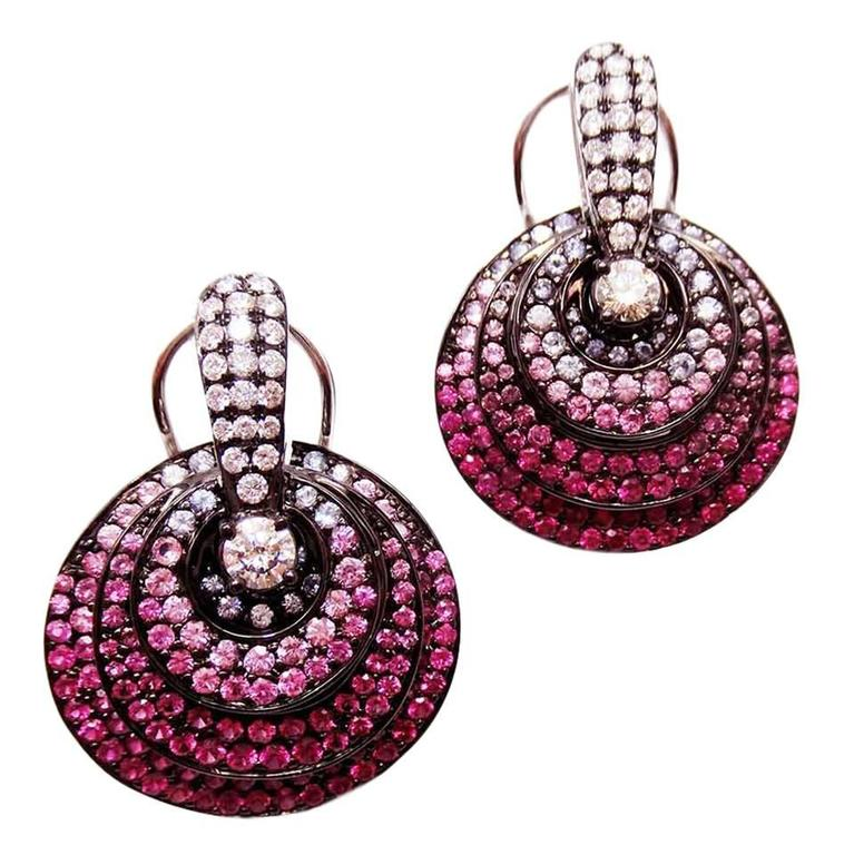 Small Circle Earrings with Ruby, Pink Sapphire, Sapphire and Diamond