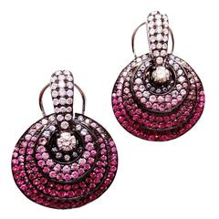 18K White gold Small Circle Earrings with Ruby, Pink Sapphire and Diamond