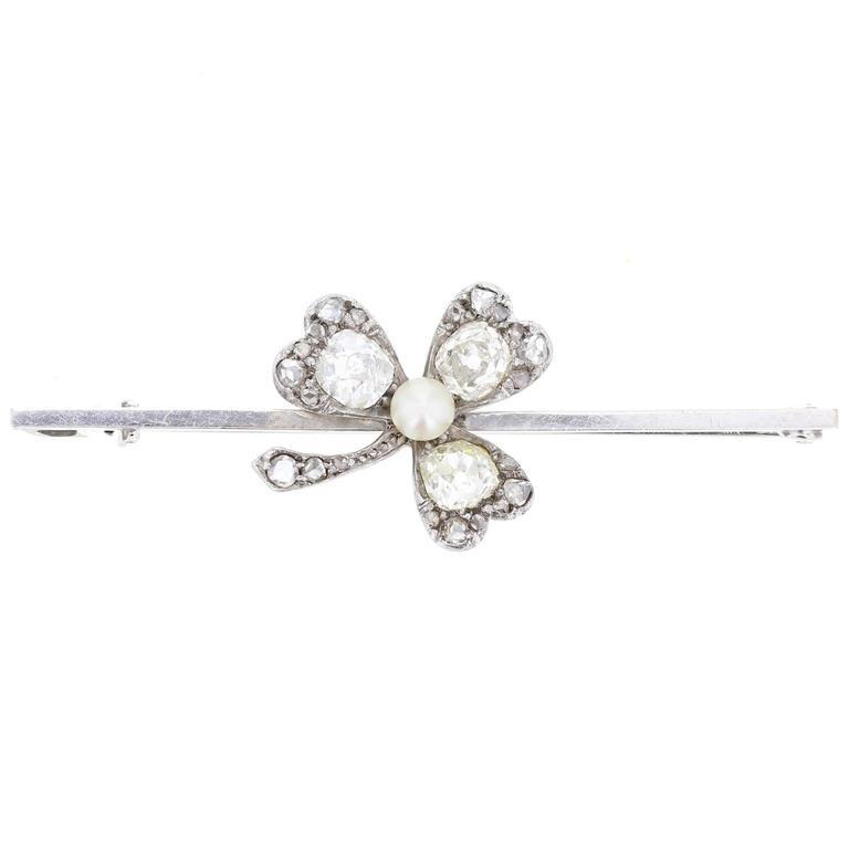 Antique Pearl Diamond Clover Bar Brooch
