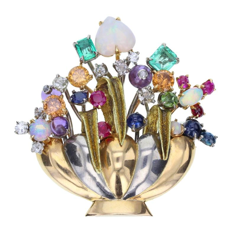 Multi Gem Flower Brooch