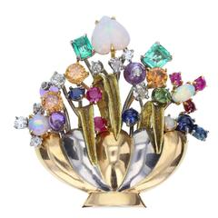 Multi Gem Flower Brooch