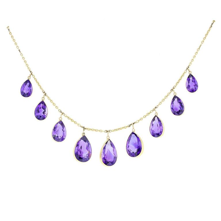 Antique Victorian 15ct Gold Amethyst Necklace