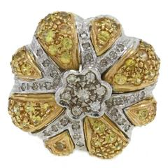 Luise Diamond Sapphires Gold Daisy Ring