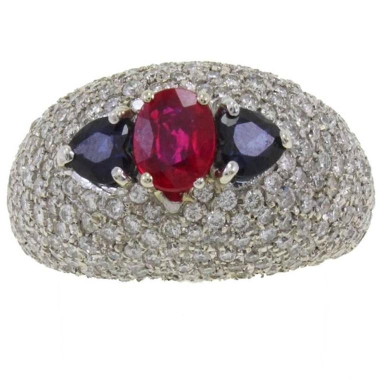 Diamond Ruby Sapphire Gold Dome Ring