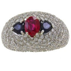 3.20 ct Diamonds,2.15 ct Central Ruby and Blue Sapphires, White Gold Dome Ring