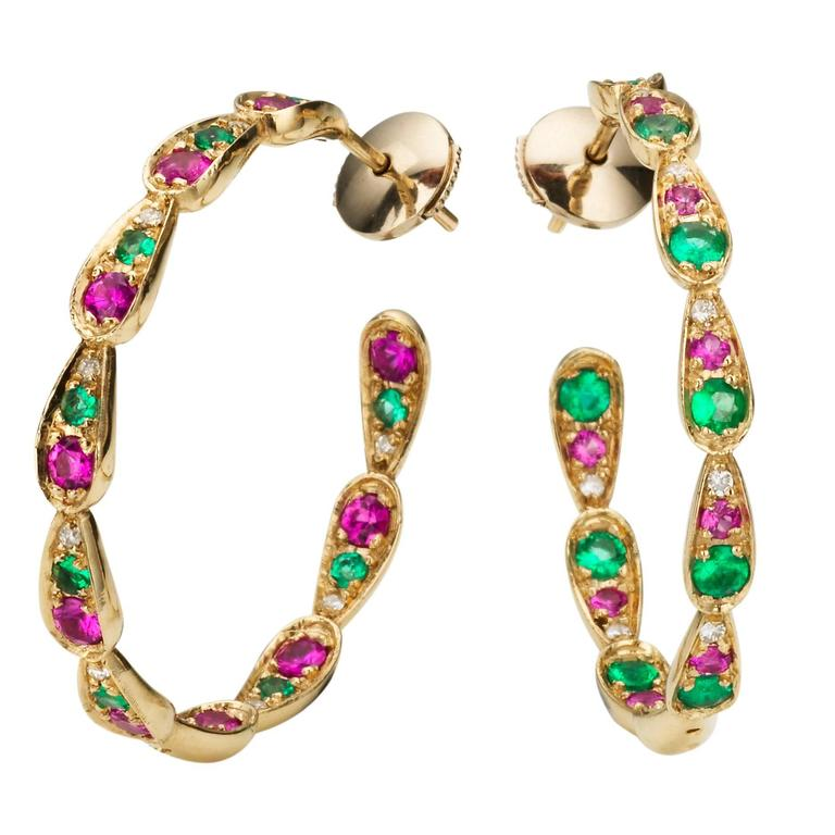 Sabine Getty 18kt Gold Harlequin Hoop Earrings with Diamond, Sapphire & Emerald 1
