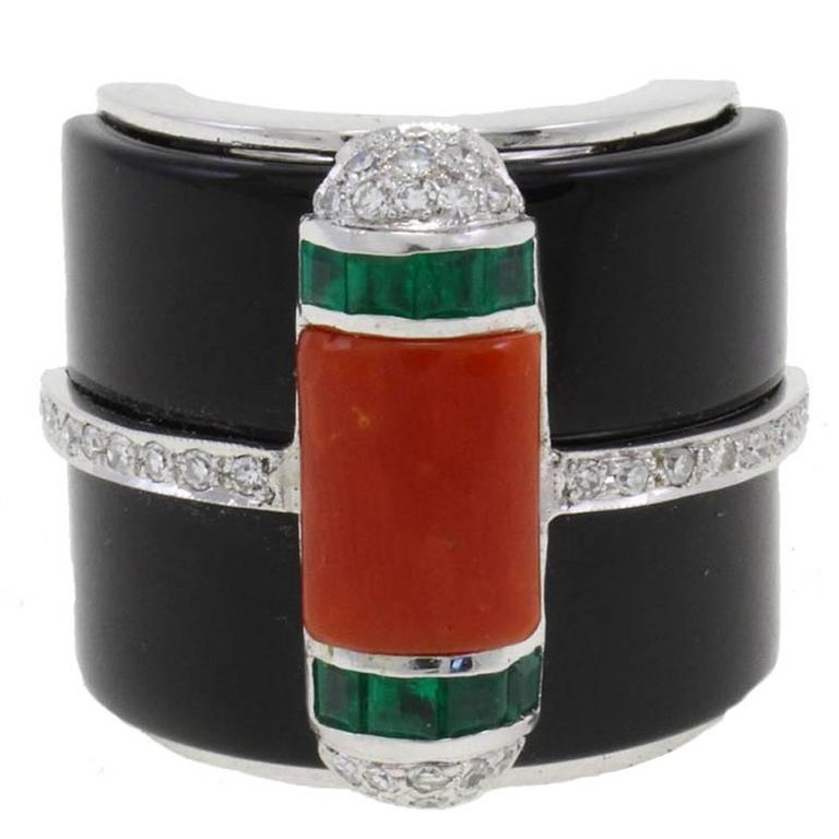 Onyx Diamond Coral Emerald Gold Ring