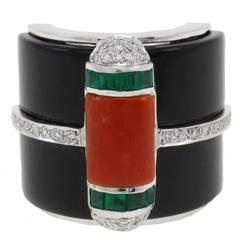 Luise Onyx Diamond Coral Emerald Gold Ring
