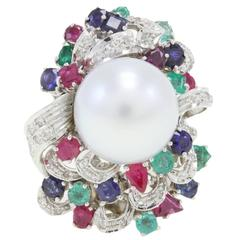 Luise Australian Pearl Emerald Ruby Sapphire Diamond Gold Ring