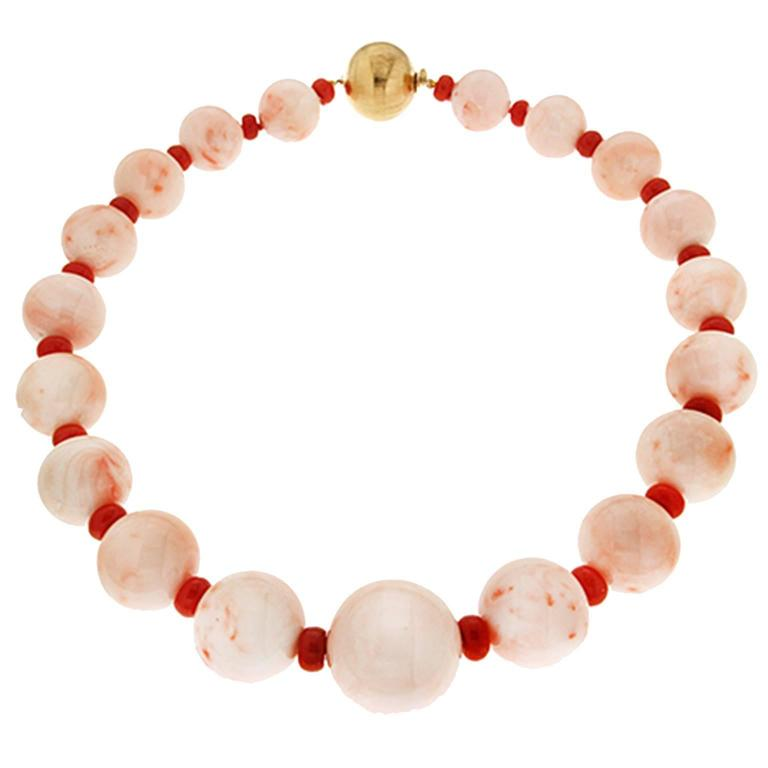Valentin Magro Angel Skin Coral Balls and RedCoral Donuts Necklace